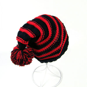 Classic Warm Adorable Kids Striped Knit Winter Pom Pom Hat Beanie Hats for Christmas