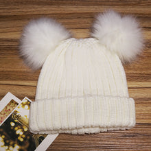 Women's Winter Chunky Knit Beanie Hat with Double Faux Fur Pom Pom Ears
