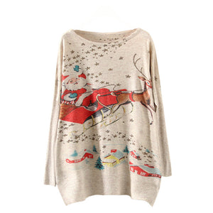 Womens Christmas Batwing Long Sleeve Color Loose Knit Sweater Knitwear Tops