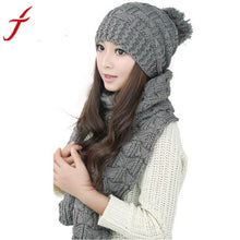 1Set Women Scarf Hats 2016 Fashion Warm Winter Woolen Knit Hood Shawl Caps Suit  Shipping #LYW