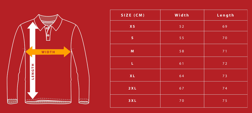 Fishing Jersey Size Chart