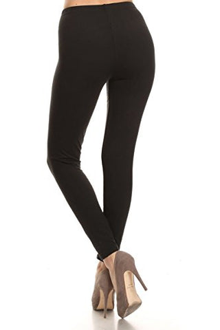 Leggings Depot Ultra Soft Basic Solid Plain Best Seller Leggings Pants (Plus Size (Size 12-24), Black)
