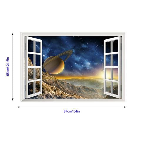 3D Astronomy Style Window View Wall Decal - smarttrendstore