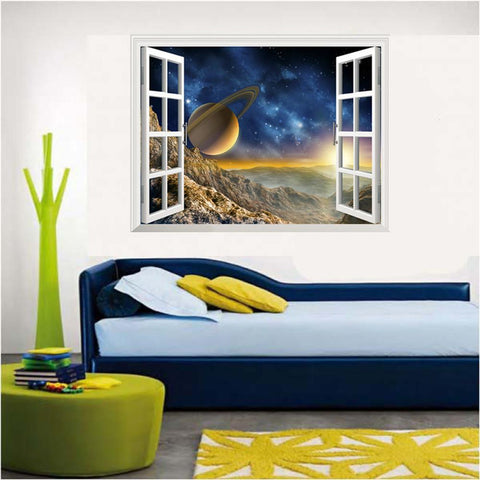 3D Astronomy Style Window View Wall Decal
