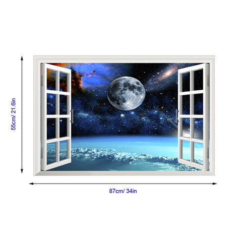 3D Style Space Odessy Window View Wall Decal
