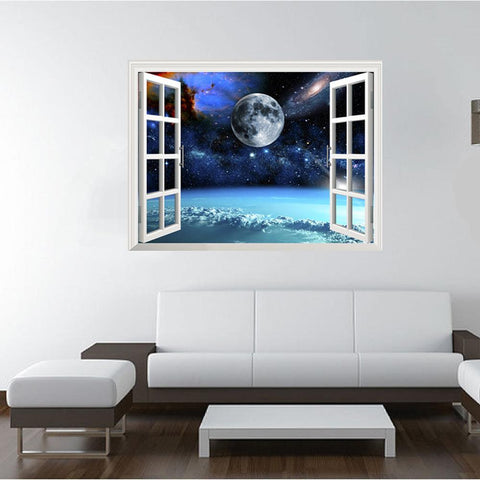 3D Style Space Odessy Window View Wall Decal - smarttrendstore