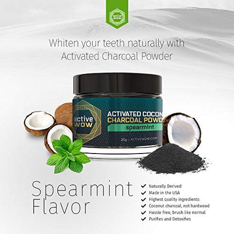 Active Wow Teeth Whitening Charcoal Powder, Spearmint 20g