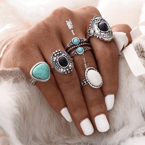5pc Bohemian Style Vintage Silver Stack Rings