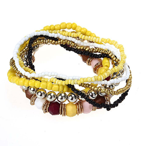 7 Piece Beautifully Crafted Multilayer Multi Colour Acrylic Beads Bracelet Set