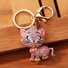 A Little Bling Cat Rhinestone Sparkling Keychain Charm