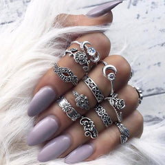Bohemian Vintage Style Silver Stack Rings Above Knuckle