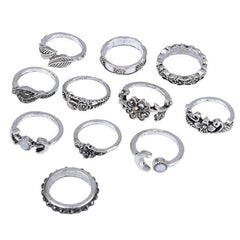 11Pc Bohemian Vintage Style Silver Stack Rings