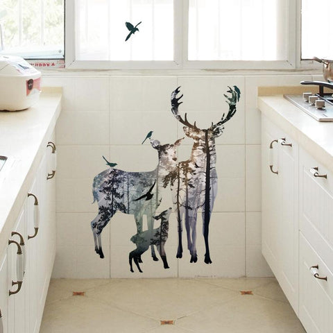 Elk Forest Silhouette Wall Stickers Home Decoration Living Room Mural
