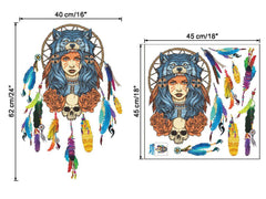 Full Female Indian Wolf Headdress Wall Art