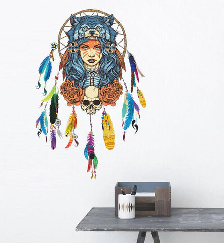 Full Female Indian Wolf Headdress Wall Art - smarttrendstore