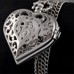 Ladies Antique Style Classically Sculptured Vintage Heart-Shaped Pocket Watch Pendent Chain