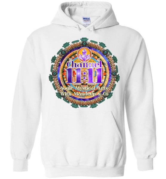 Channel 11:11 front and back Gildan Heavy Blend Hoodie