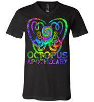 Octopus Apothecary Tie Dye Spiral - Canvas Unisex V-Neck T-Shirt