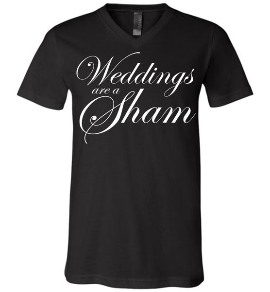 Salvesen: Weddings are a Sham: Canvas Unisex V-Neck T-Shirt