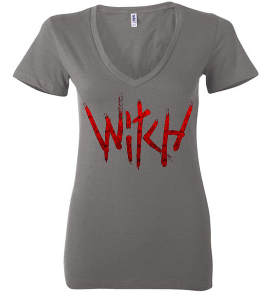 Witch - Red Text Ladies Deep V-Neck