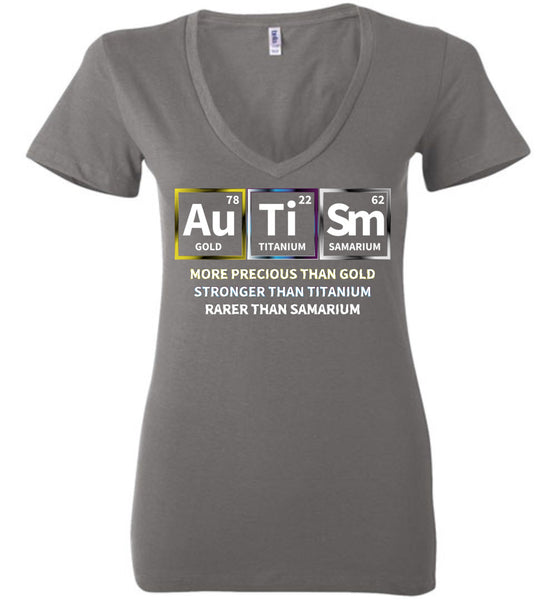 Precious + Strong + Rare = Autism - Ladies Deep V-Neck