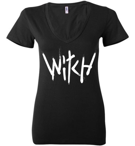 Witch - White Text Ladies Deep V-Neck