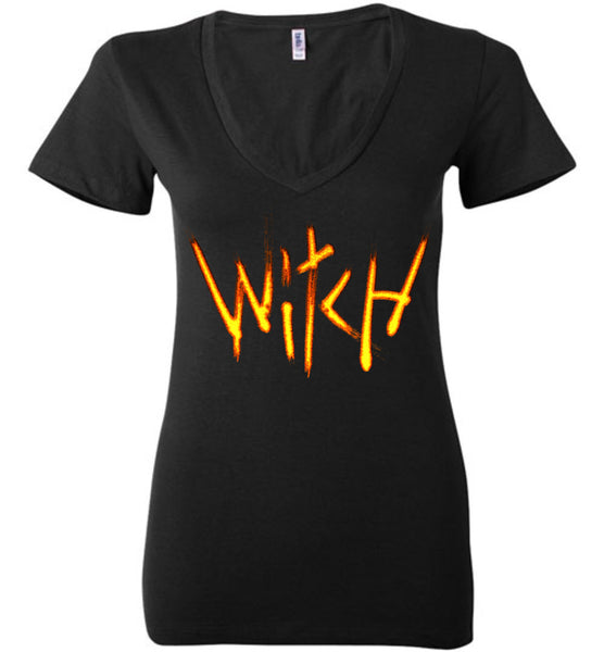 Witch- Fire Text Ladies Deep V-Neck