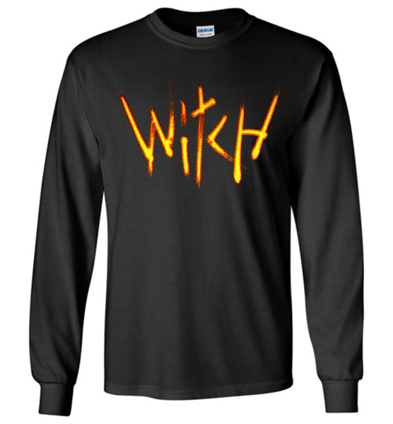 Witch- Fire Text Long Sleeve T-Shirt
