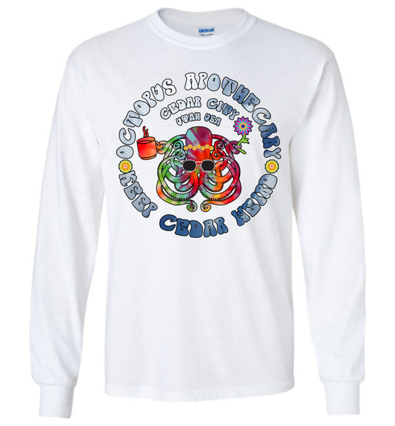 Octopus Apothecary - Tie-Dyed Sky Blue on White 2 - Gildan Long Sleeve T-Shirt
