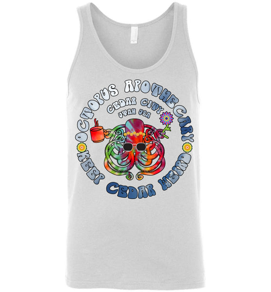 Octopus Apothecary - Tie-Dyed Sky Blue on White 2 - Canvas Unisex Tank