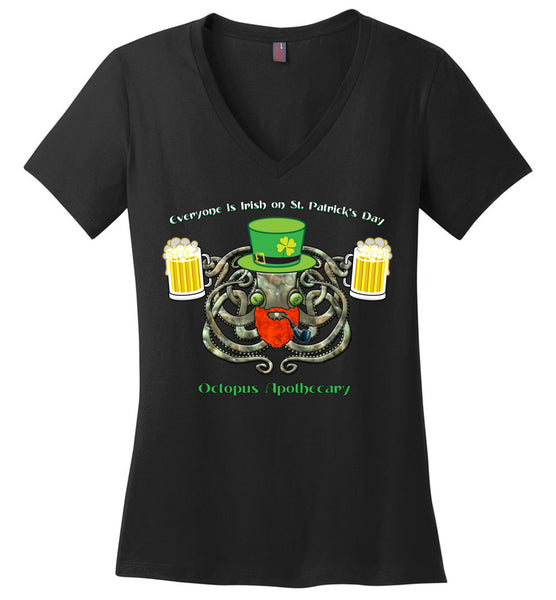 Octopus Apothecary St Patrick - District Made Ladies Perfect Weight V-Neck