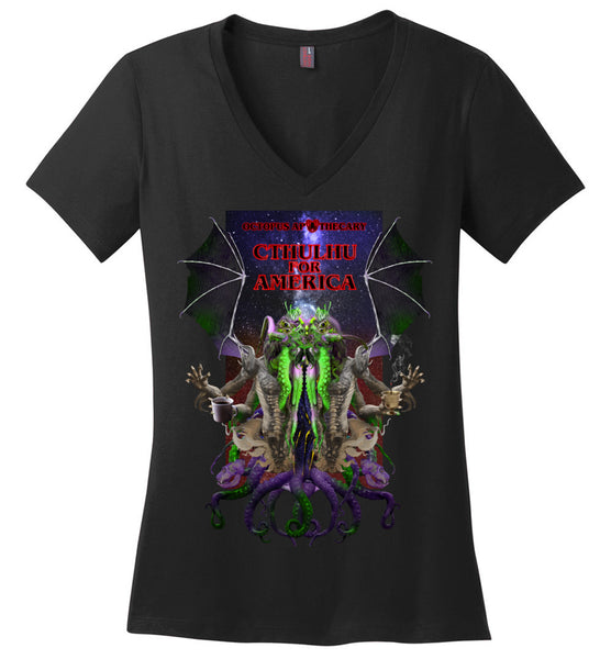 Octopus Apothecary: CTHULHU FOR AMERICA - District Made Ladies Perfect Weight V-Neck