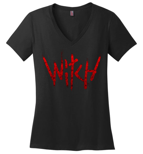 Witch - Red Text Ladies Perfect Weight V-Neck