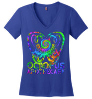 Octopus Apothecary Tie Dye Spiral - District Made Ladies Perfect Weight V-Neck