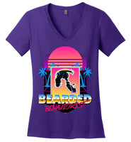 Retro Bearded Behaviorist - District Made Ladies Perfect Weight V-Neck