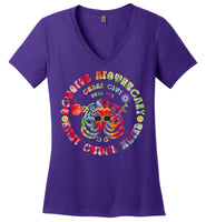 Octopus Apothecary - Tie Dye 01 - District Made Ladies Perfect Weight V-Neck