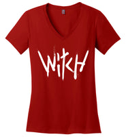 Witch - White Text Ladies Perfect Weight V-Neck