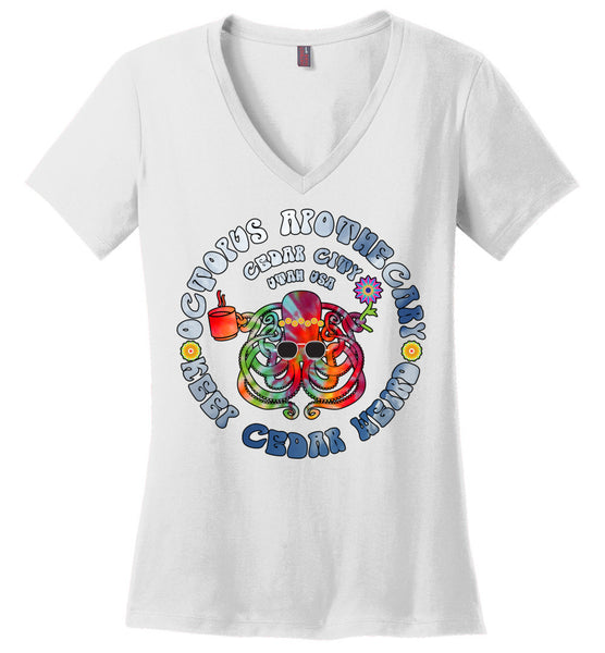 Octopus Apothecary - Tie-Dyed Sky Blue on White 2 - District Made Ladies Perfect Weight V-Neck