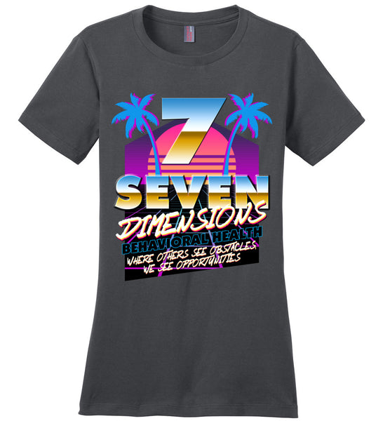 Seven Dimensions - Courtney, New Retro - District Made Ladies Perfect Weight Tee