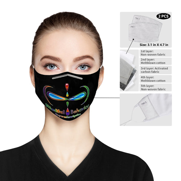 Mindful Behavior Cloth Face Mask with Filter Pocket for Adults