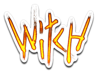 Witch- Fire Text 4x3 Decal
