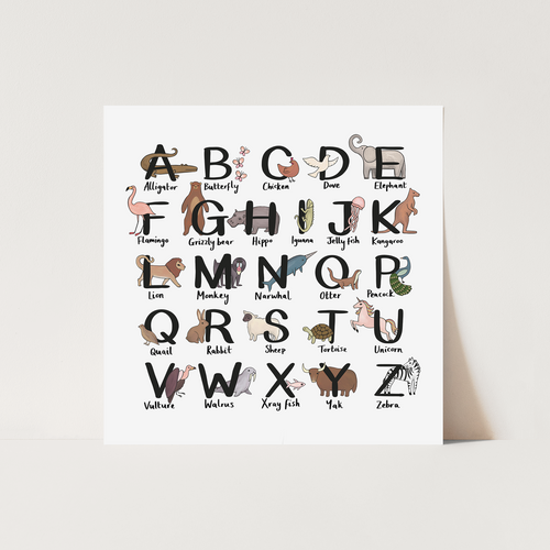 Animal Alphabet square print