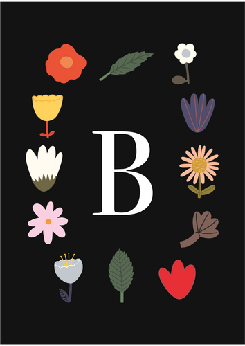 Personalised Initial Flowers print in black
