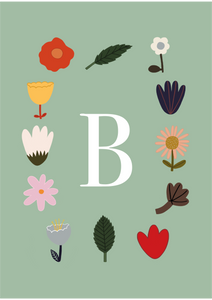 Personalised Initial Flowers print in green