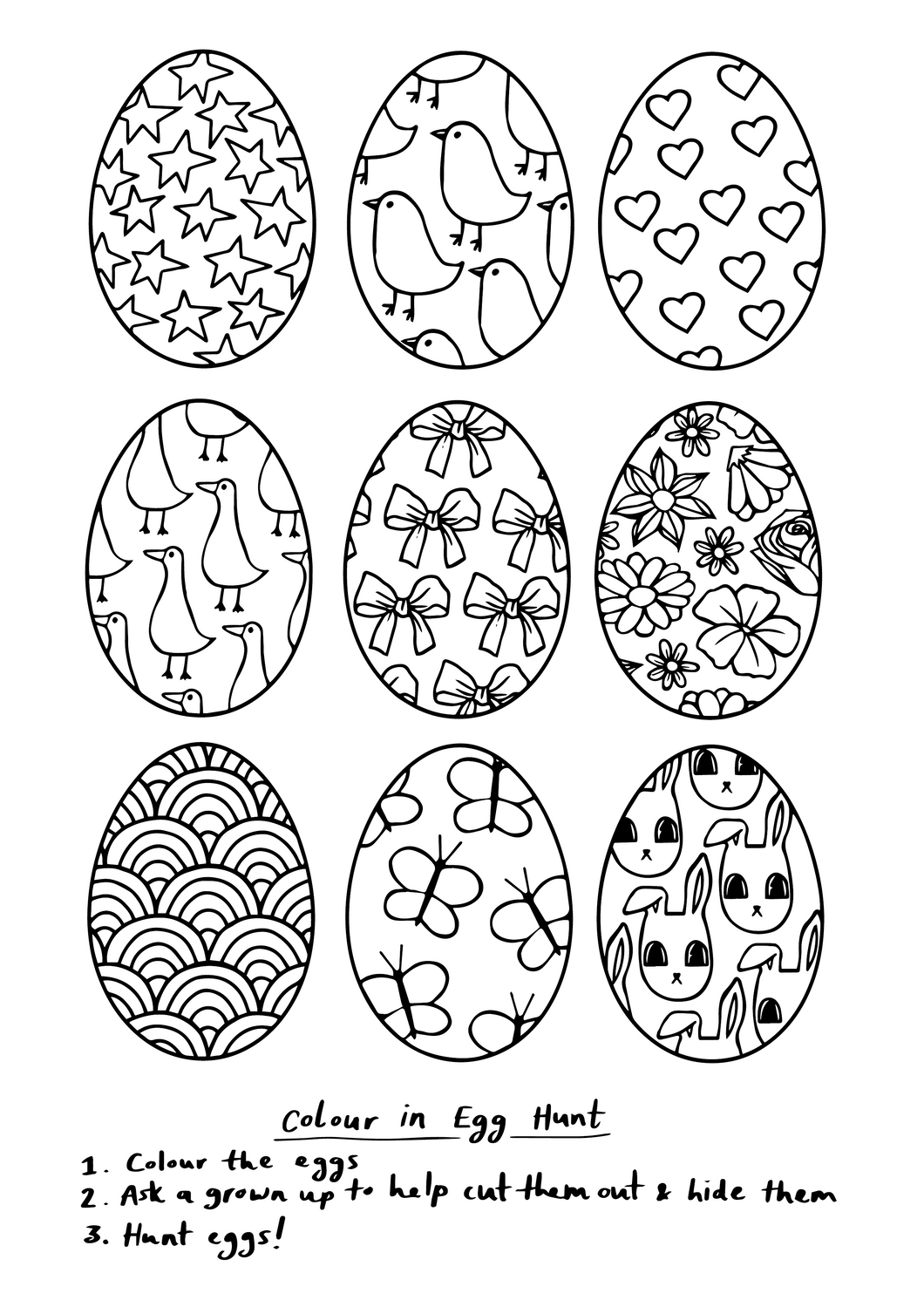 Colour in Egg Hunt Printable