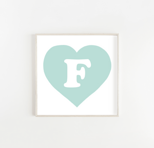Personalised Heart Initial print in powder blue