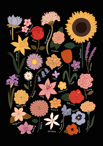 Flower Chart in black