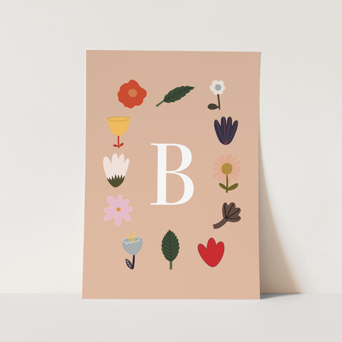 Personalised Initial Flowers print in blush