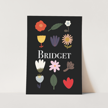 Personalised Flowers print in black
