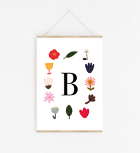 Personalised Initial Flowers print in white